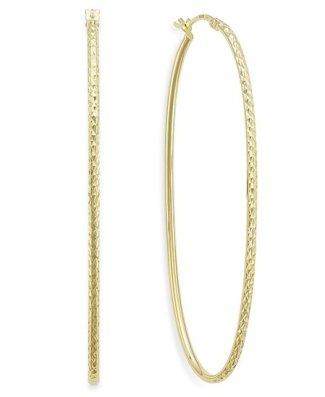 hilary duff style Macy's Diamond-Cut Oval Hoop Earrings