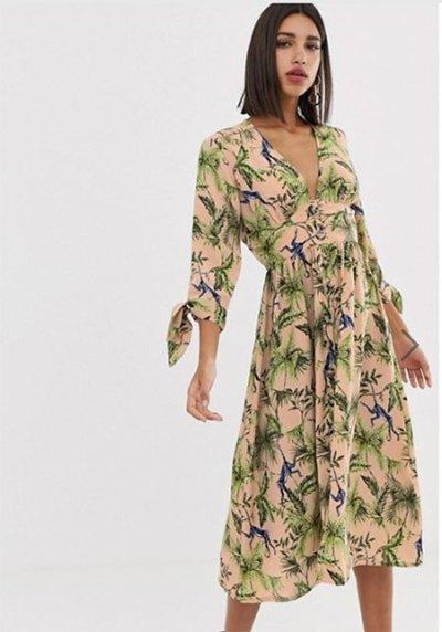 Hilary Duff style ASOS Neon Rose Maxi Tea Dress In Jungle Print, $56