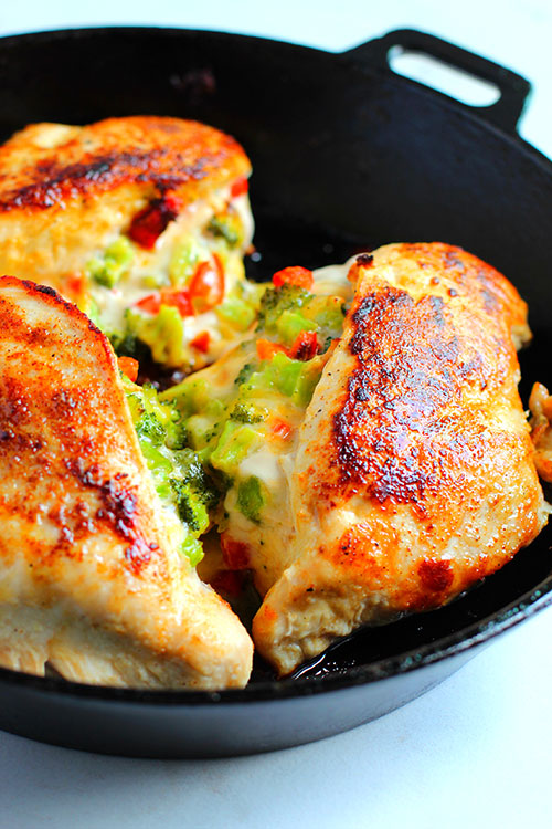 Broccoli Cheese Stuffed Chicken baked in skillet