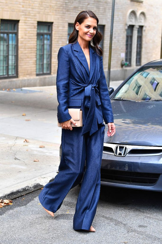 Celebrities In Color Power Suits Katie Holmes