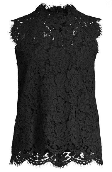 Sleeveless Lace Blouse black fountainof30