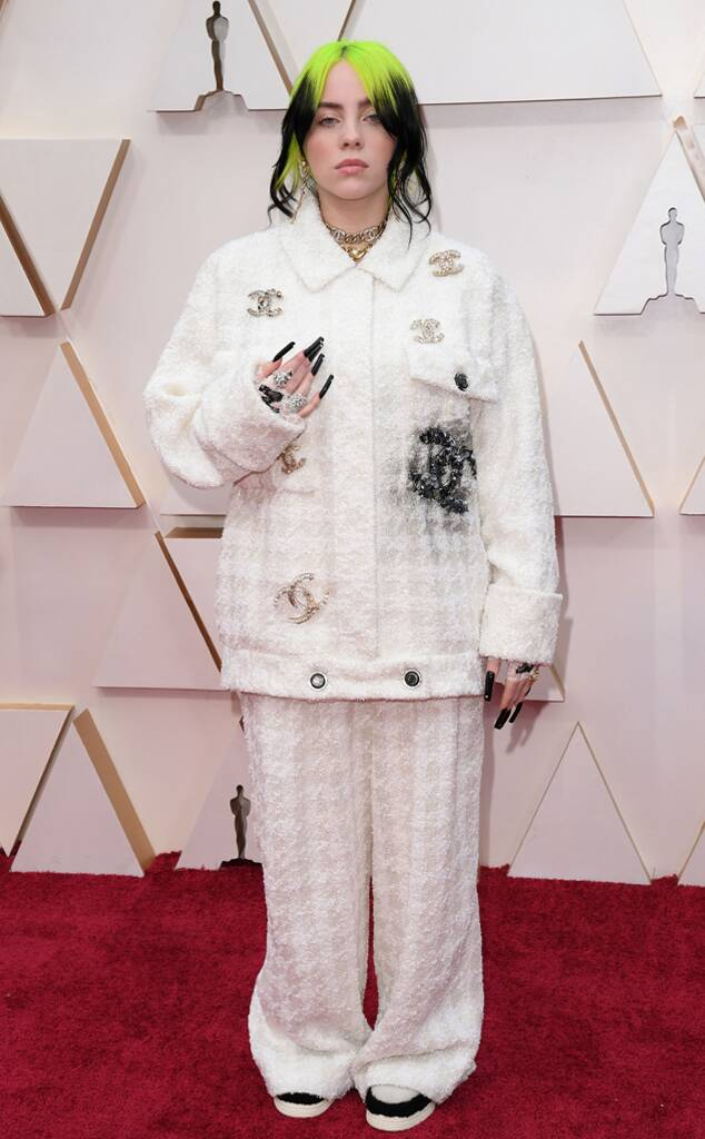 Billie Eilish in Chanel pants outfit oscars 2020