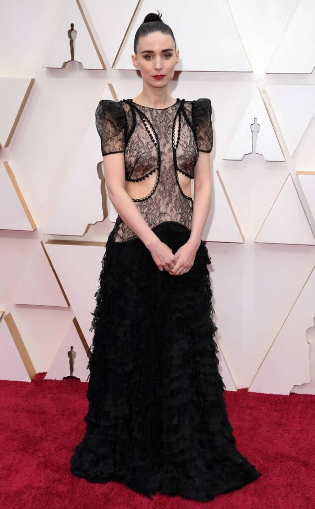 Rooney Mara in black lace Alexander McQueen
