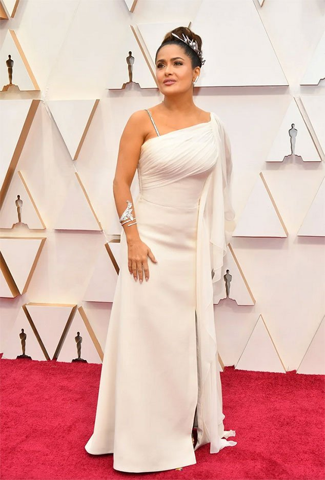 oscars 2020 worst dressed Salma Hayek in white one shoulder custom Gucci