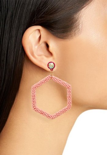 ook your best for zoom meetings Beaded Hexagon Hoop Earrings