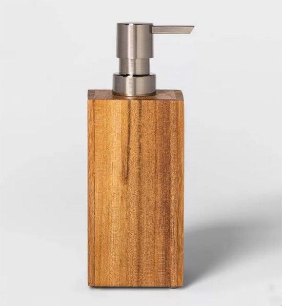 Self Care Home Goods soap dispenser wood square fountainof30