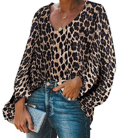 Balloon Sleeve V-Neck Blouse leopard print