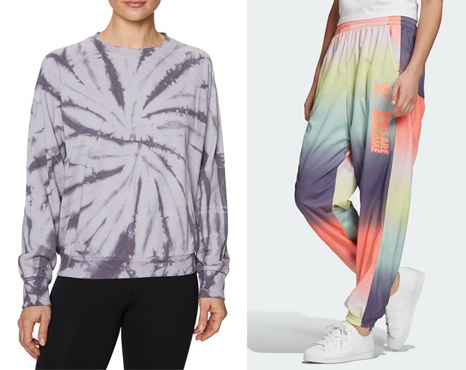 tie dye sweatshirt and track pants fountainof30