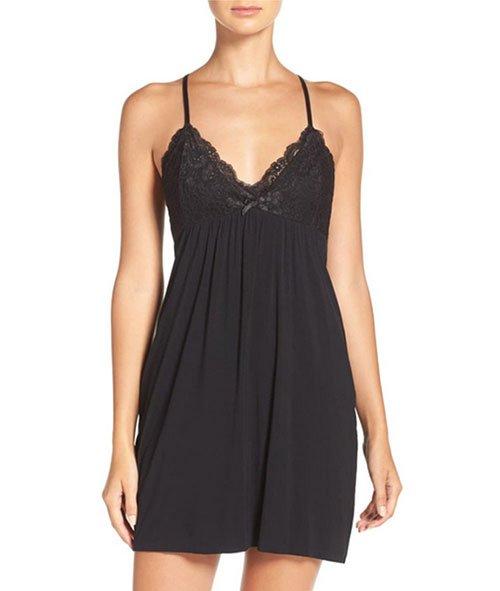black Lace Racerback Jersey Chemise fountainof30