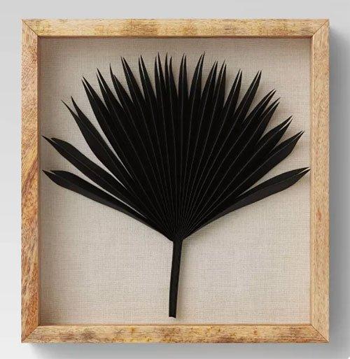 living rooms Dried Natural Palm Leaf Shadow Box Black