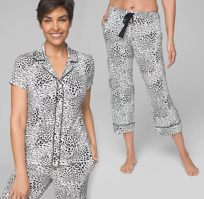 pajamas black and white animal print fountainof30