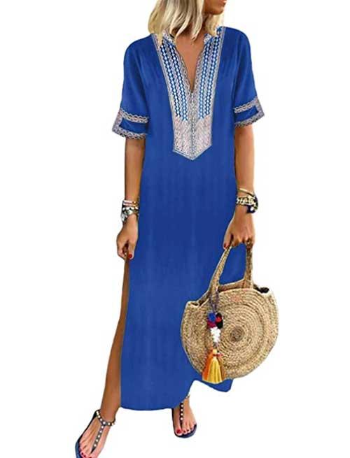 blue Kaftan embellished Beach Maxi Dress fountainof30