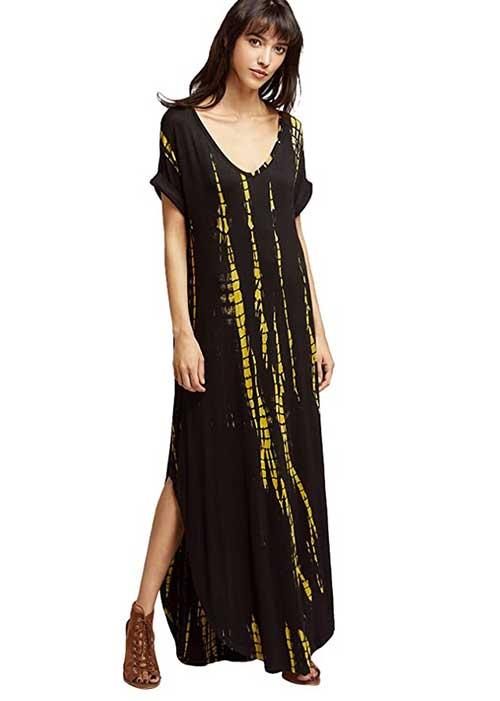 Tie Dye caftan maxi black yellow fountainof30