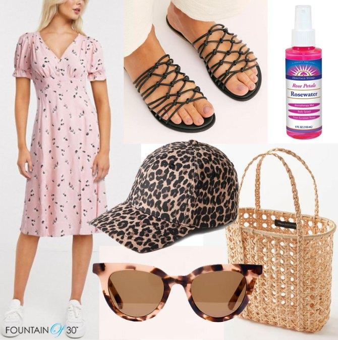 summer road trip looks for less dress sandals sunglasses baseball cap straw tote fountainof30
