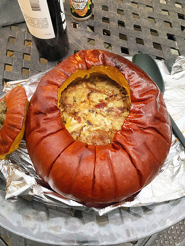 Savory Stuffed Pumpkin derved on a platter fountainof30