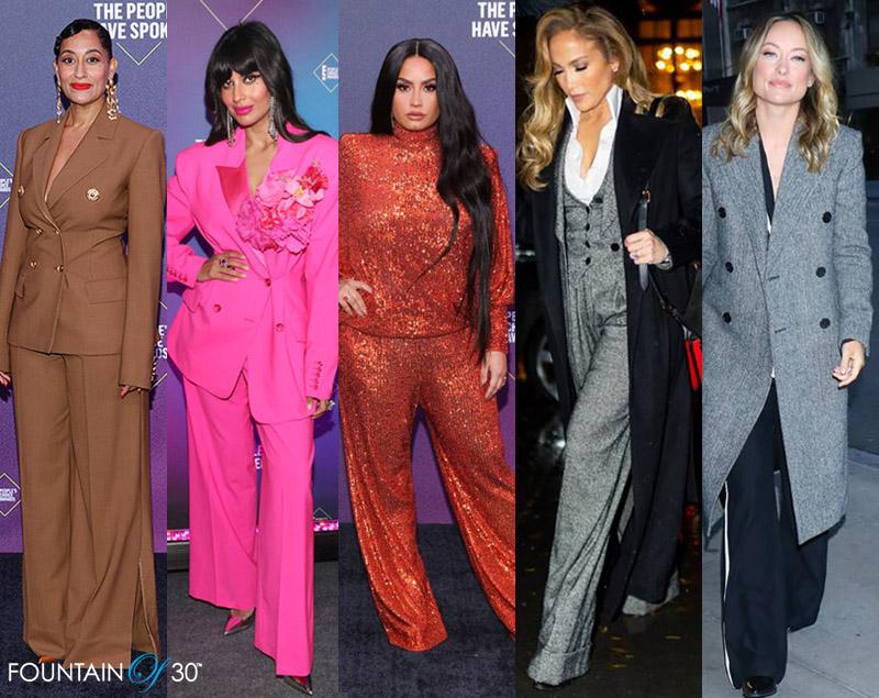 celebrities wide leg trousers