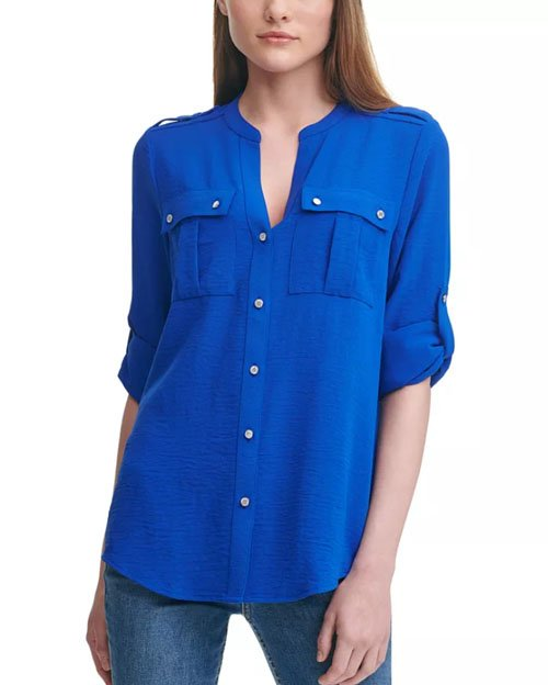 blue button down for well endowed woman fountainof30