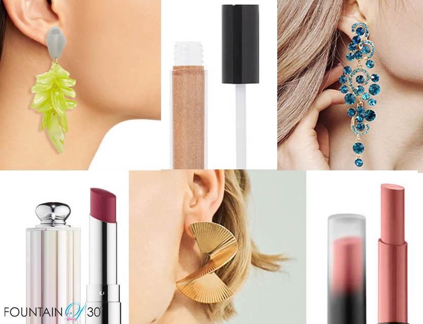 lipstick and earrings fountainof30