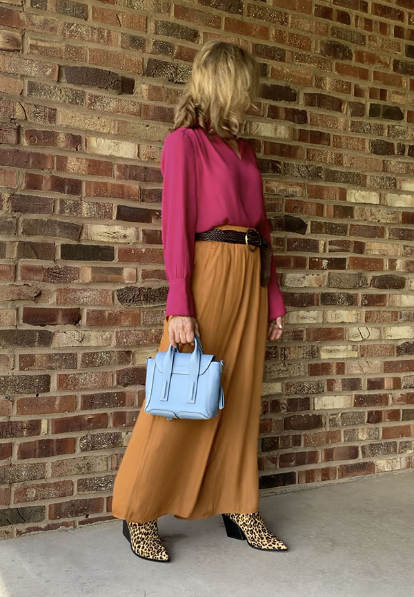 copper palazzo pants with hot pink blouse fountainof30