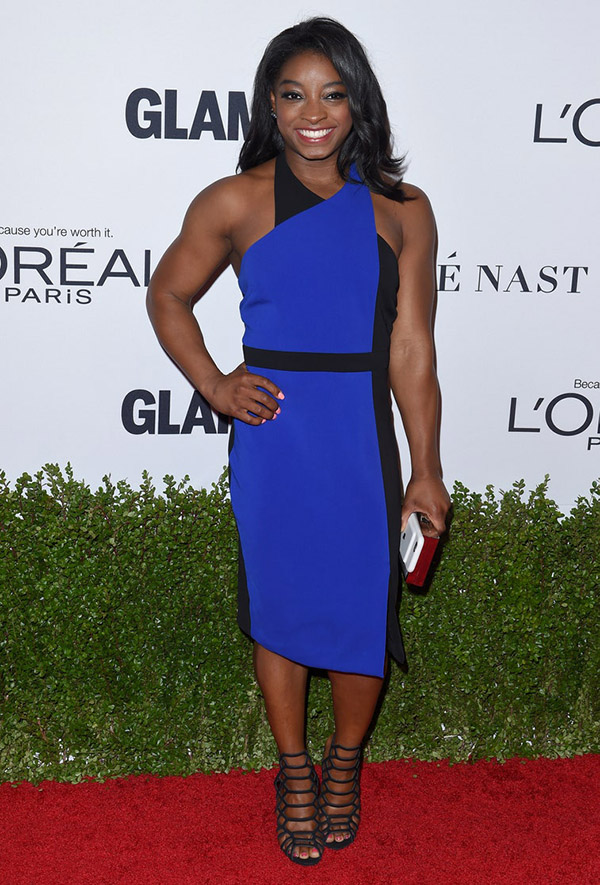 fashionable female athletes simone biles blue dress fountainof30