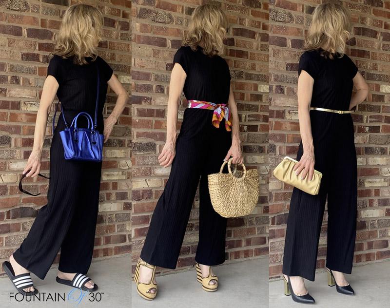 black jumpsuit 3 ways to wear fountainof30