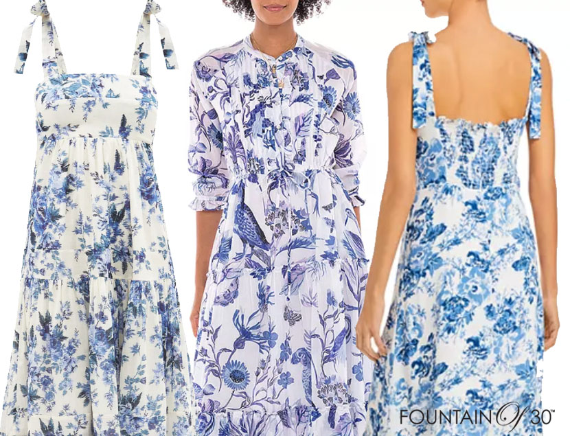 blue and white floral print dresses fountainof30