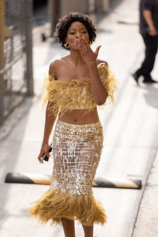 Keke Palmer in Georges Chakra feathers and sequins fountainof30