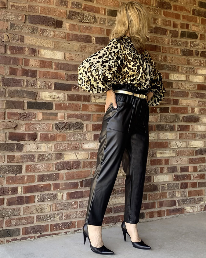 black faux leather pants cocktail party outfit fountainof30