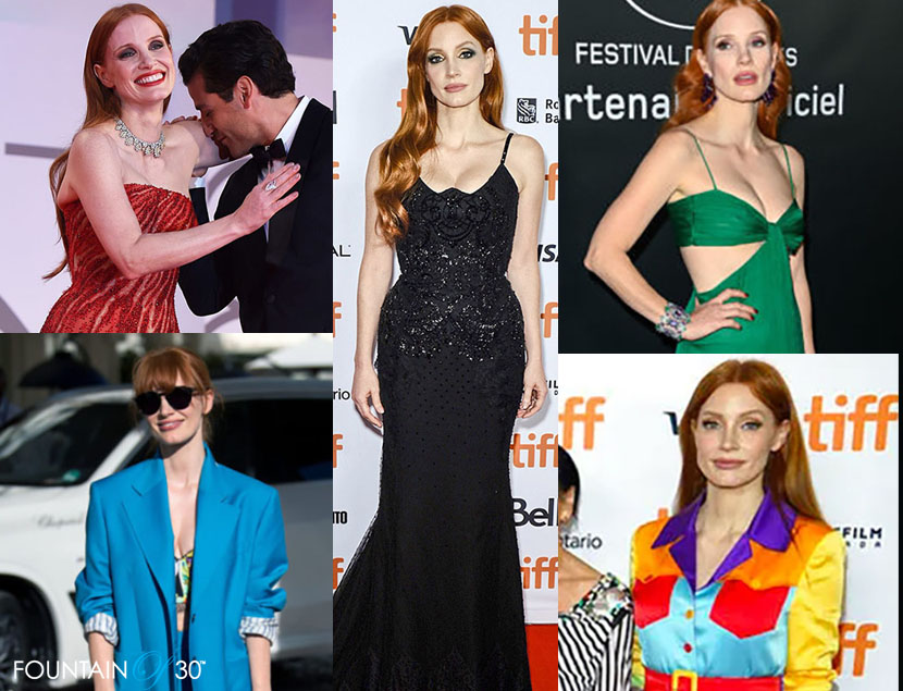 jessica chastain style 2021 fashion red carpet street fountainof30