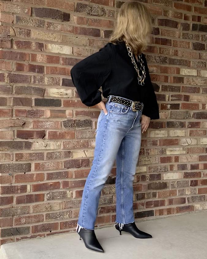peasant top with denim jeans