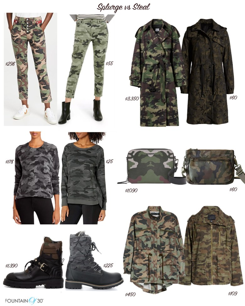 camouflage fashion for fall splurge vs steal fountainof30