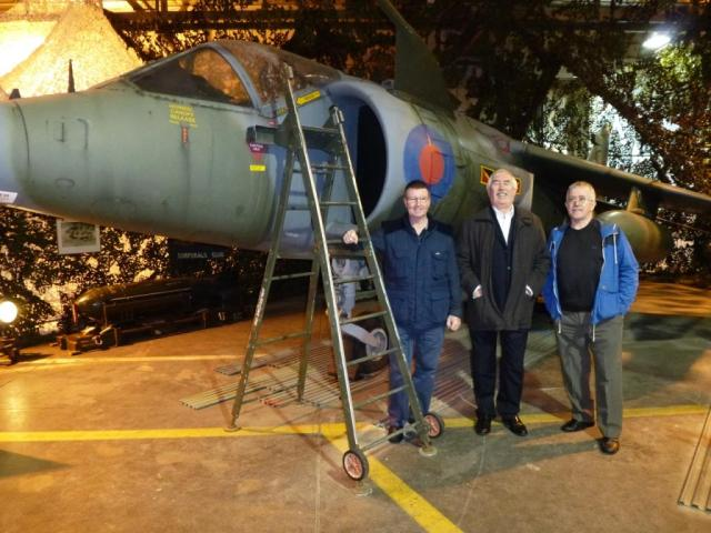 Pete Mears, Mike Aynsley, Arfa Hancock and XV779 at HFA Wittering Dec 2014. Photo Pete Mears