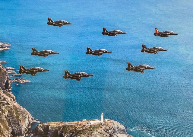 9-ship practice for the RAF 100 flypast