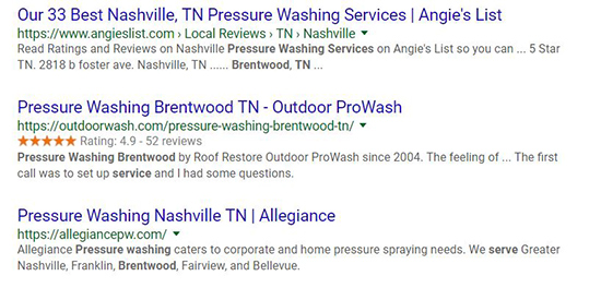 Google reviews snippet example with star ratings