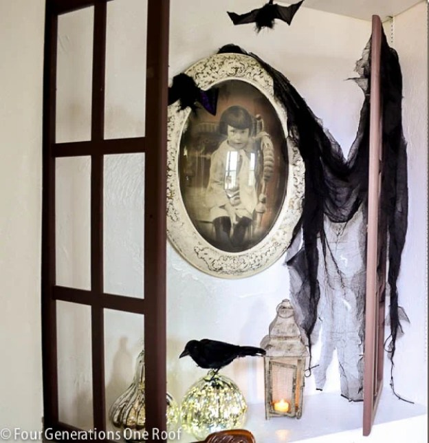spooky halloween bookcase for under $20