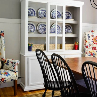 White painted dining room hutch {makeover}
