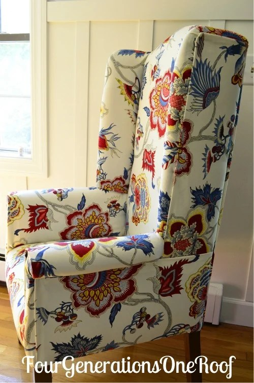 DIY Reupholstered Wingback Chair Before Amp After Four