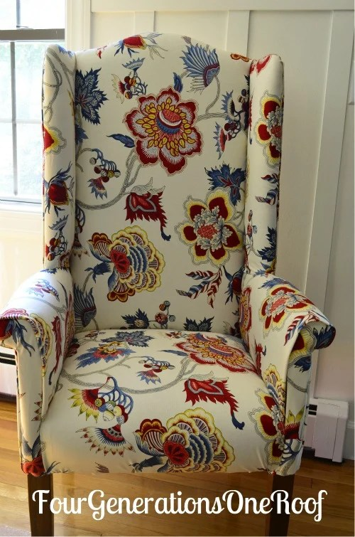 DIY reupholstered wingback chair before  after  Four
