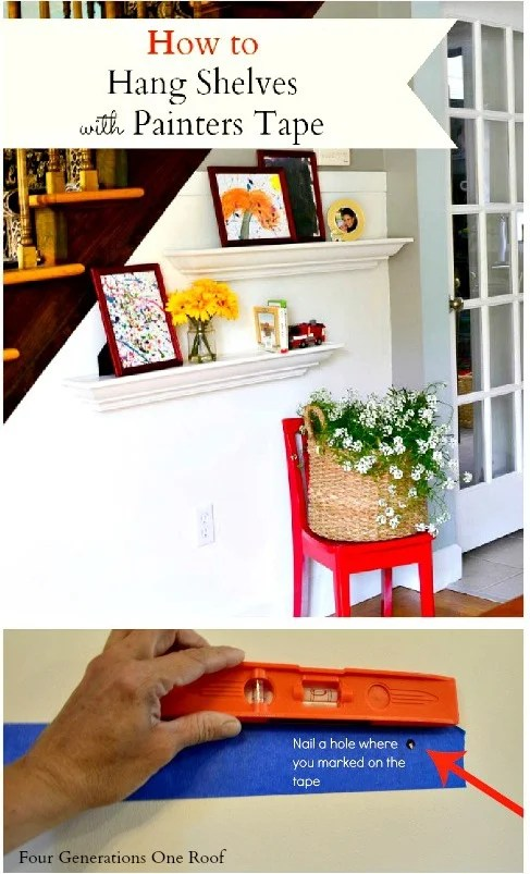 How to hang shelves with painters tape