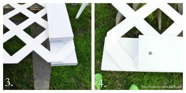 saw horses, white lattice and white pine trim pieces for privacy fence
