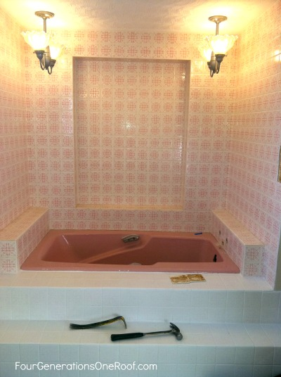 1970's old pink outdated bathroom