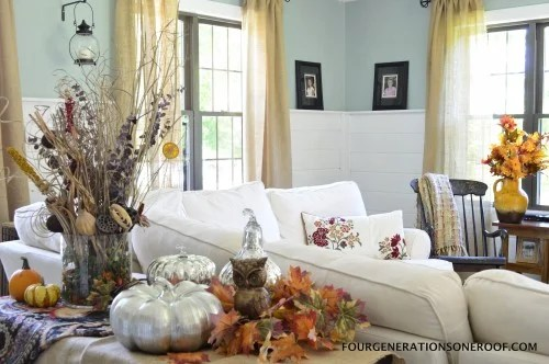 Fall Mantel with mercury pumpkins