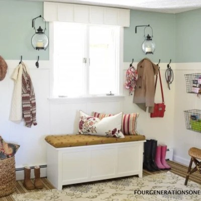 DIY multipurpose mudroom reveal