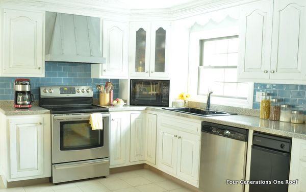 modern kitchen painted white cabinets makeover