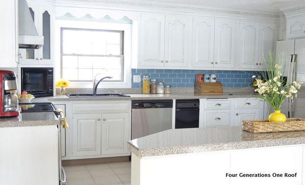 white cottage kitchen cabinet makeover