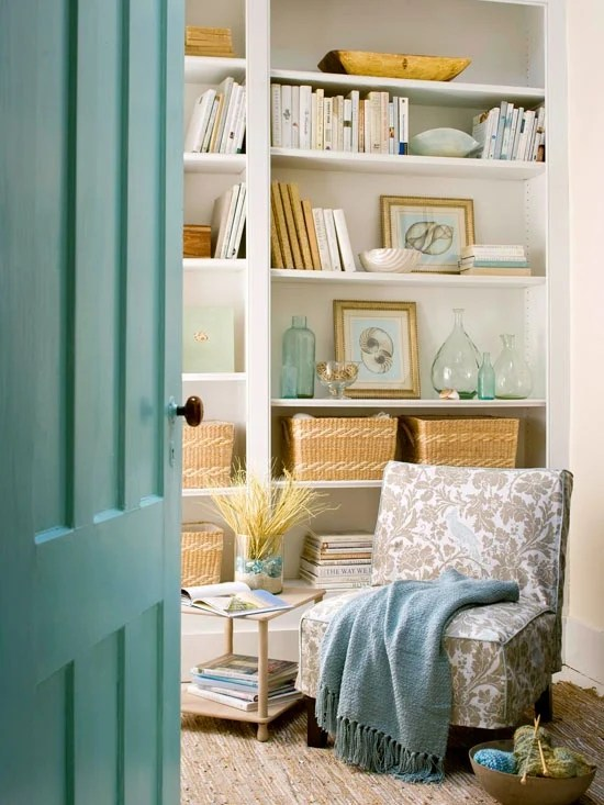 aqua green woven baskets bookshelves