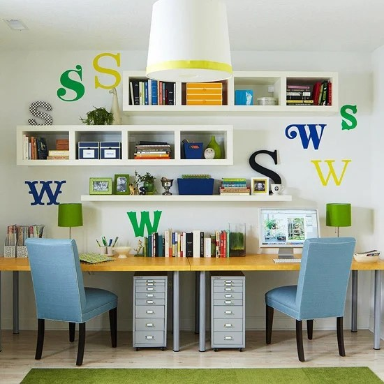 kids wall desk unit built in modern floating shelving