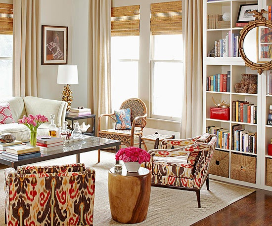 orange and brown living room + built in bookshelves