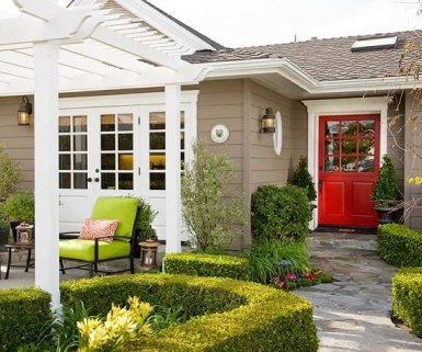 Bright red front door color ideas