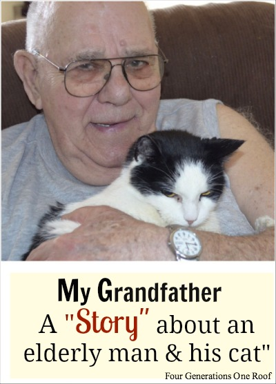 An elderly man and his cat